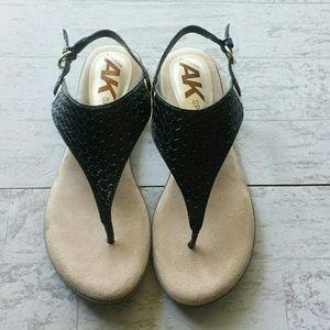 AK Sport Anne Klein Black Thong Sandal